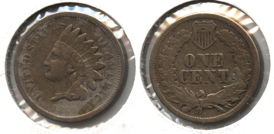1860 Indian Head Cent Fine-12 #g Cleaned