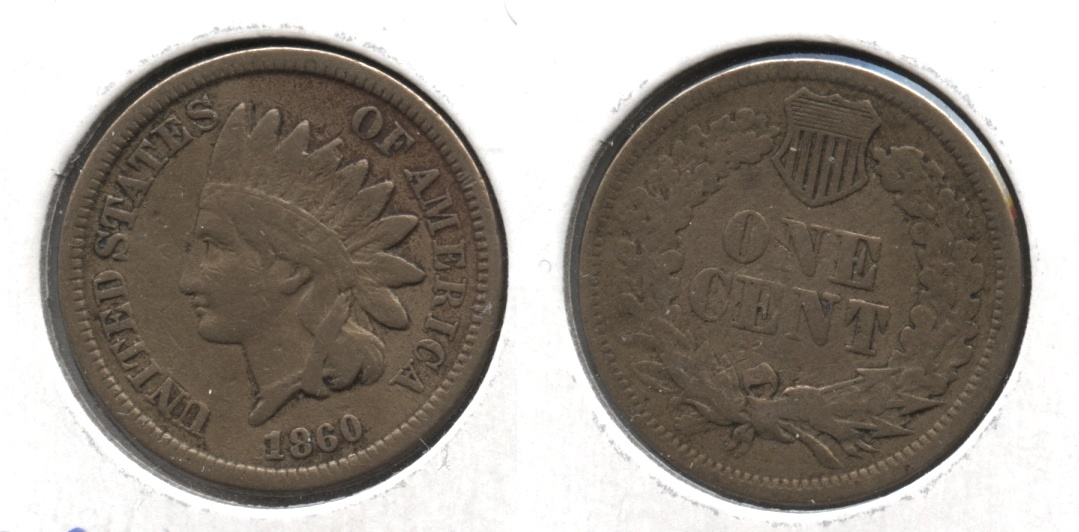 1860 Indian Head Cent Fine-12 #k