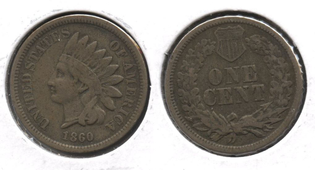1860 Indian Head Cent Fine-12 #r