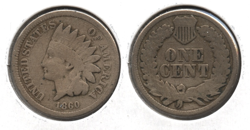 1860 Indian Head Cent Good-4 #at Cleaned Retoned