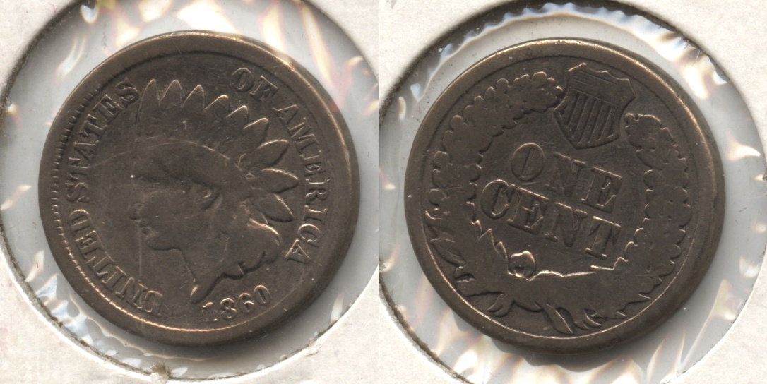 1860 Indian Head Cent Good-4 #bf Polished