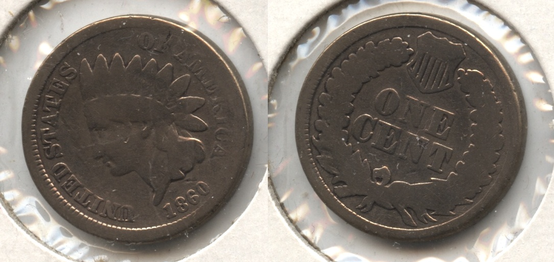 1860 Indian Head Cent Good-4 #bg Polished