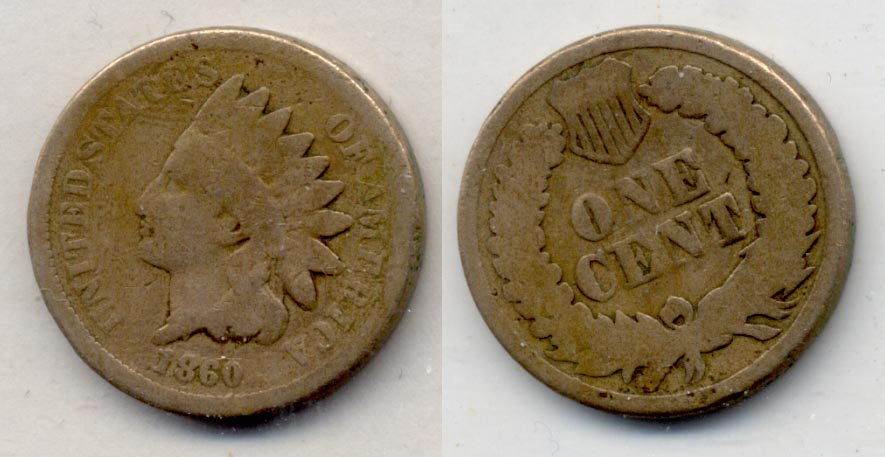 1860 Indian Head Cent Good-4 n Cleaned