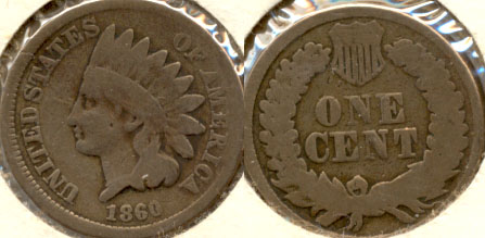 1860 Indian Head Cent Good-4 p