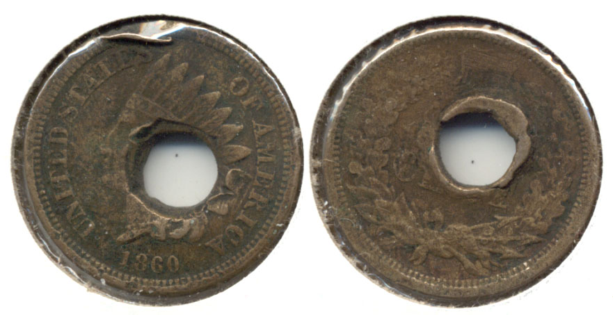 1860 Indian Head Cent VG-8 b Holed