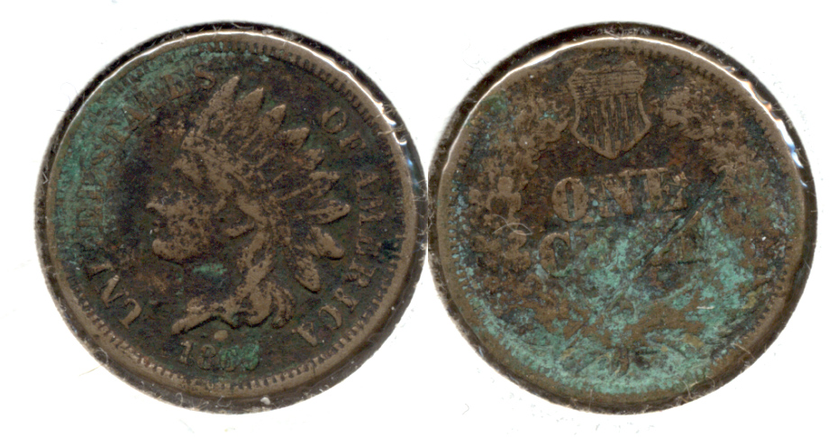 1860 Indian Head Cent VG-8 f Corrosion