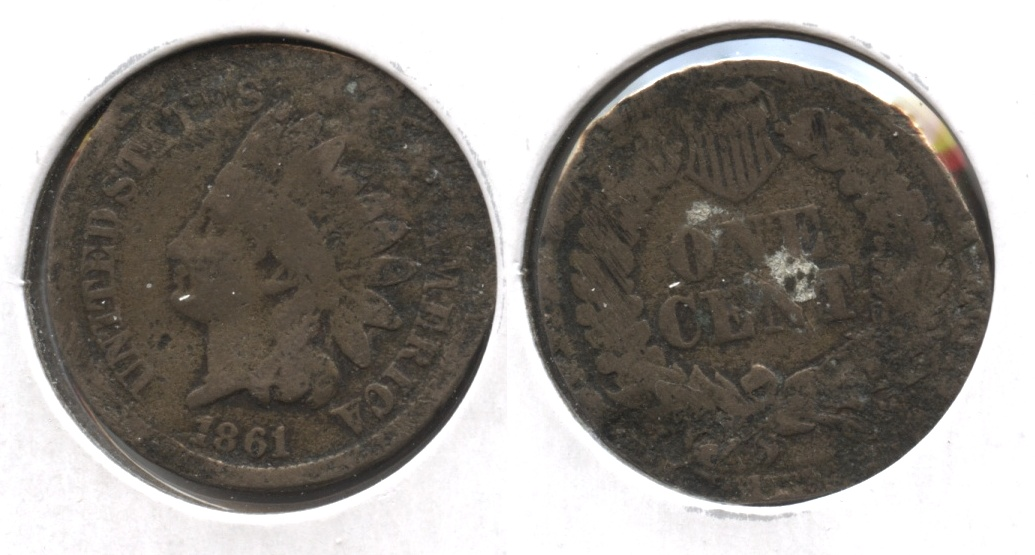 1861 Indian Head Cent Good-4 #ae Damage