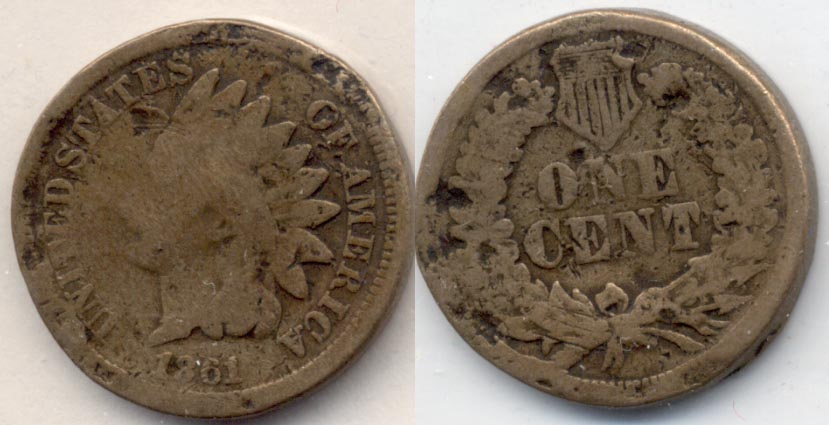 1861 Indian Head Cent Good-4 d Damaged