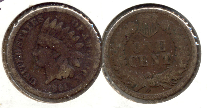 1861 Indian Head Cent Good-4 j Dark