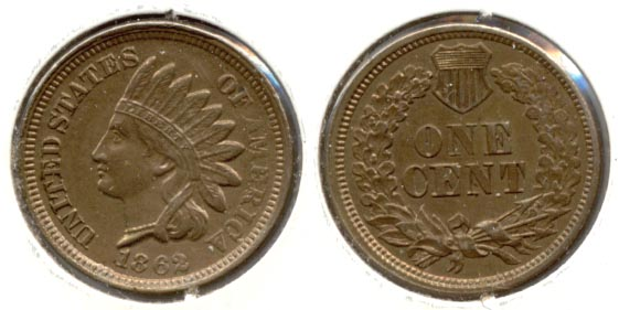 1862 Indian Head Cent AU-55