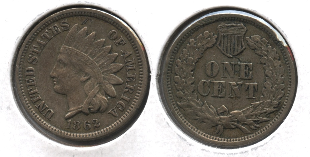1862 Indian Head Cent EF-40 #a Reverse Mark