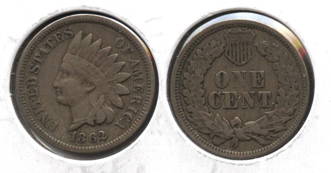 1862 Indian Head Cent Fine-12 #m