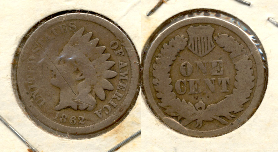 1862 Indian Head Cent G-4 ac Scratches