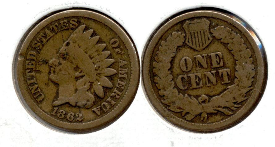 1862 Indian Head Cent G-4 ad Few Spots