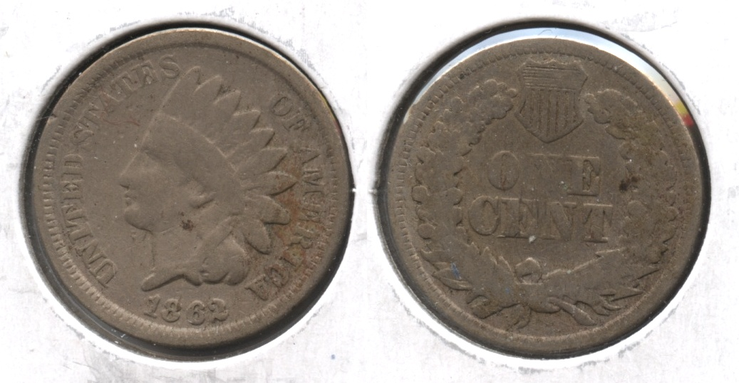 1862 Indian Head Cent G-4 #br Cleaned