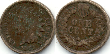 1862 Indian Head Cent G-4 c Corrosion