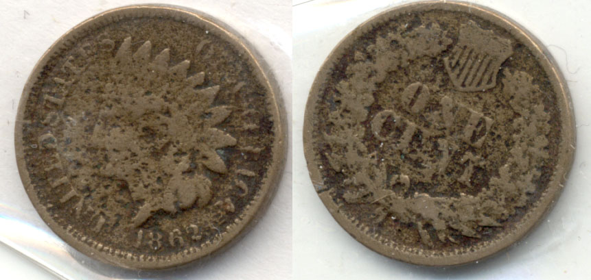 1862 Indian Head Cent G-4 m Pitting