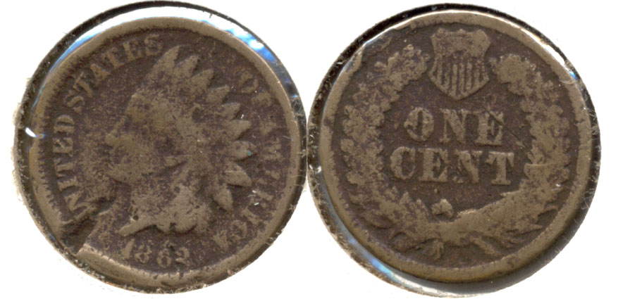 1862 Indian Head Cent G-4 n Obverse Hit