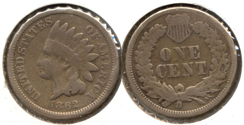1862 Indian Head Cent G-4 v Cleaned