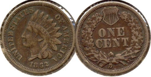 1862 Indian Head Cent VF-20 a