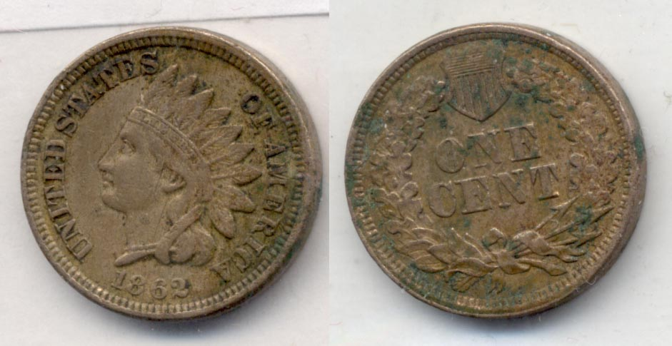 1862 Indian Head Cent VF-20 e Green Reverse