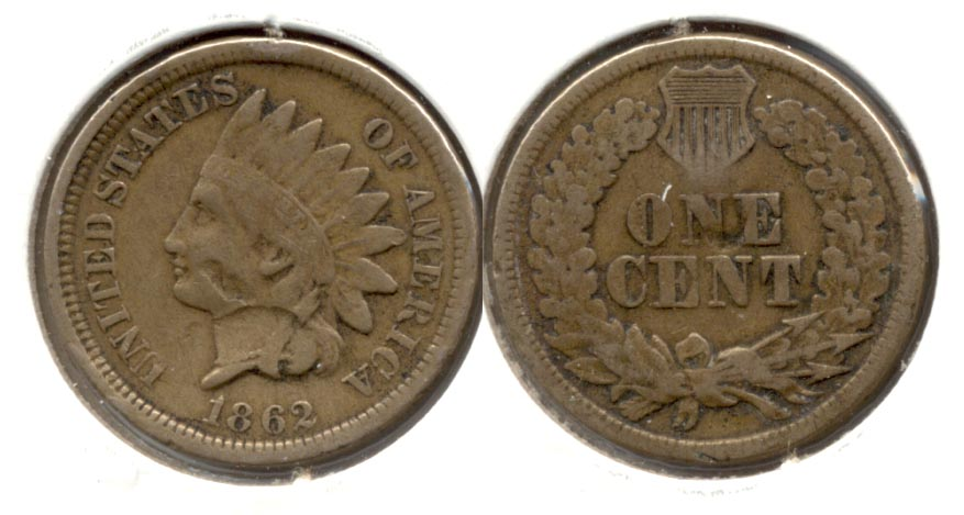 1862 Indian Head Cent VG-8 f Damage