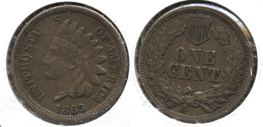 1863 Indian Head Cent EF-40 #c