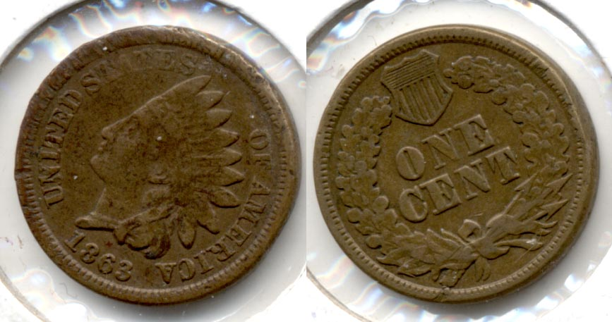 1863 Indian Head Cent Fine-12 h Rough Rim