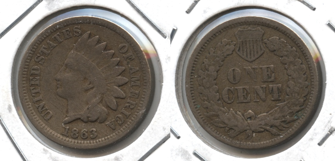 1863 Indian Head Cent Fine-12 #m