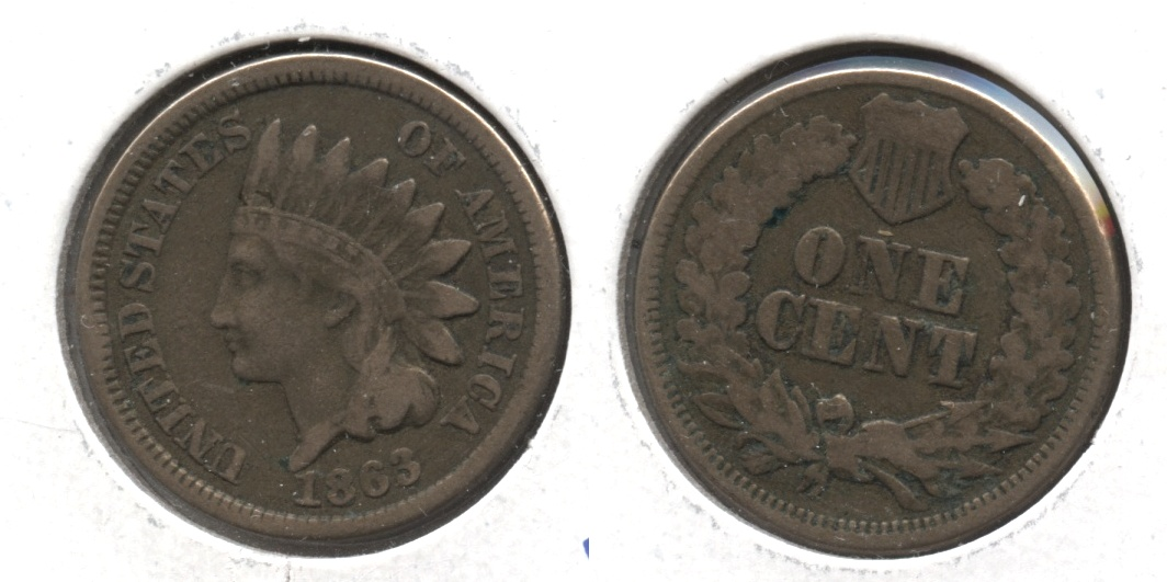 1863 Indian Head Cent Fine-12 #n