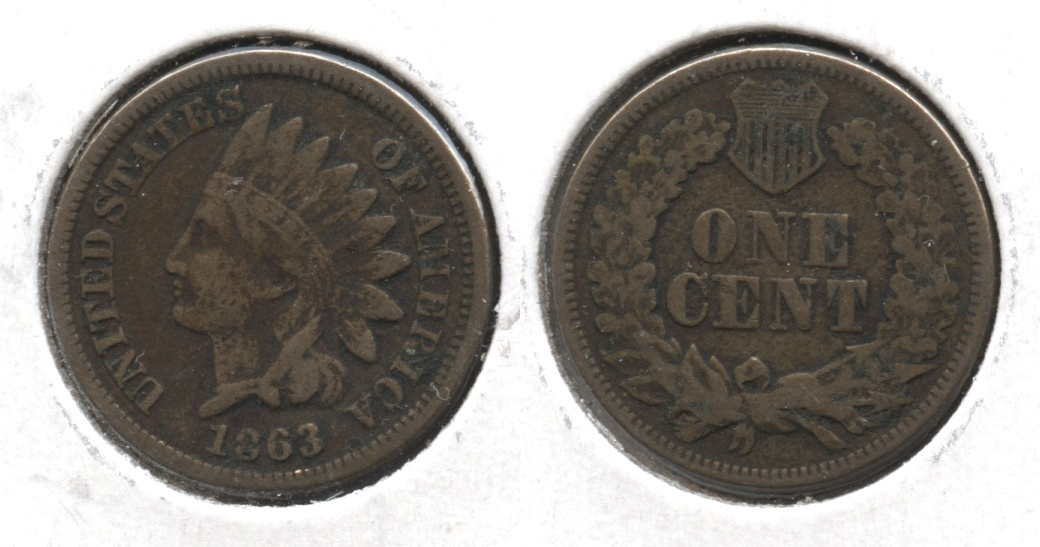 1863 Indian Head Cent Fine-12 #p