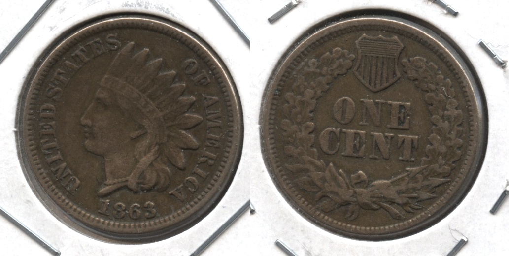 1863 Indian Head Cent Fine-12 #s