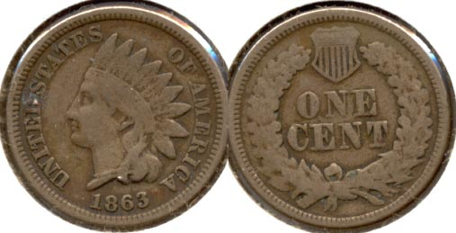 1863 Indian Head Cent Good-4
