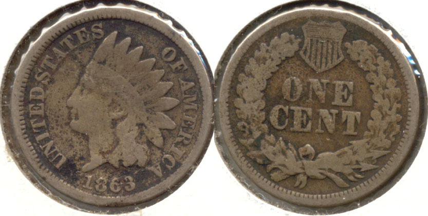 1863 Indian Head Cent Good-4 aw