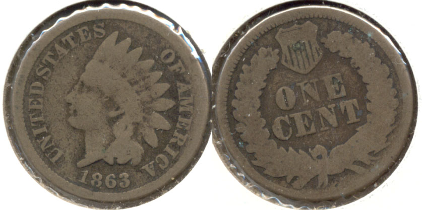 1863 Indian Head Cent Good-4 ay