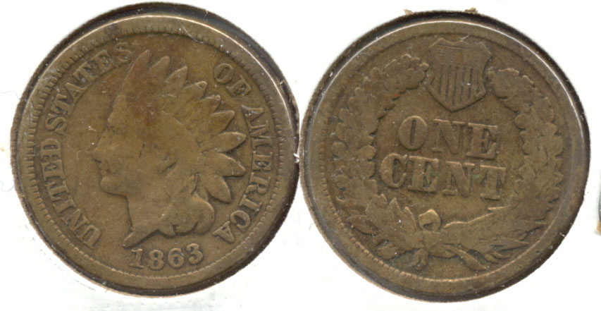 1863 Indian Head Cent Good-4 b