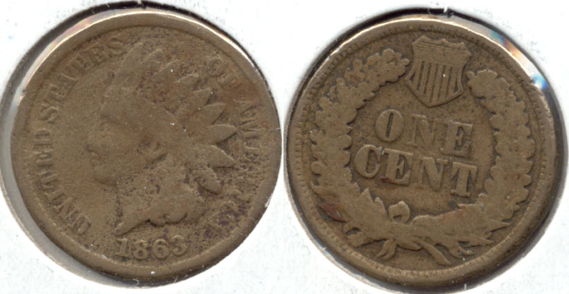 1863 Indian Head Cent Good-4 bc