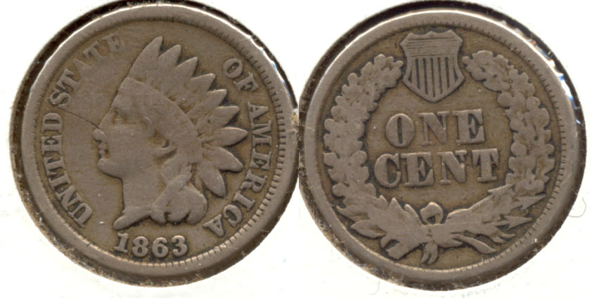 1863 Indian Head Cent Good-4 be