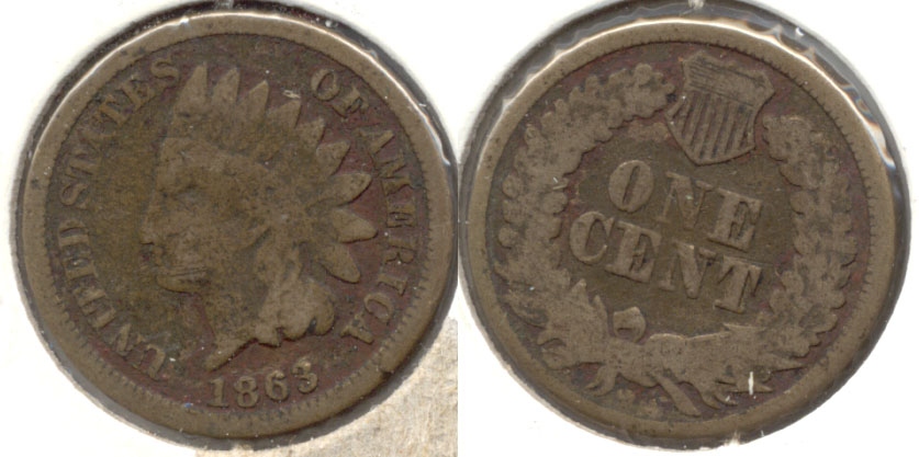 1863 Indian Head Cent Good-4 bo Dark