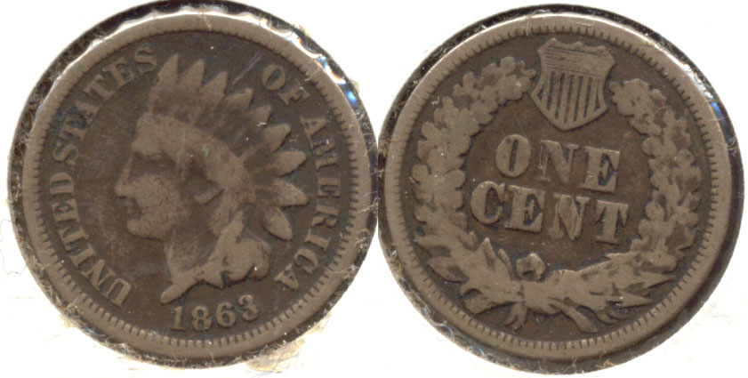 1863 Indian Head Cent Good-4 bp Dark Fields