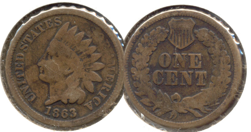 1863 Indian Head Cent Good-4 bq