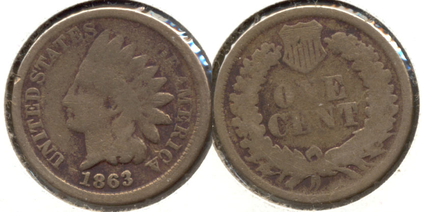1863 Indian Head Cent Good-4 bt