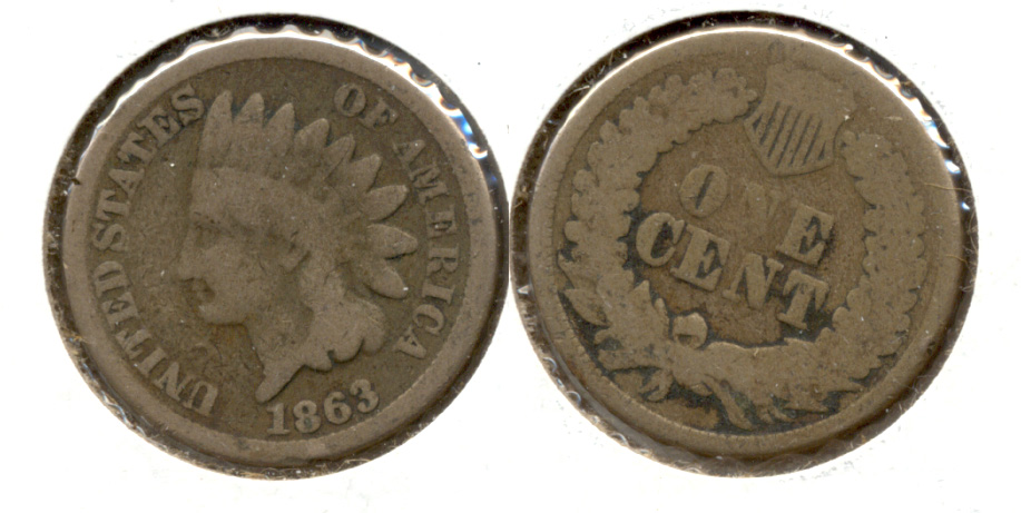 1863 Indian Head Cent Good-4 ce
