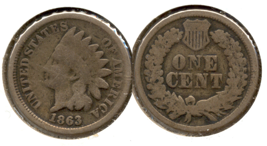 1863 Indian Head Cent Good-4 cy