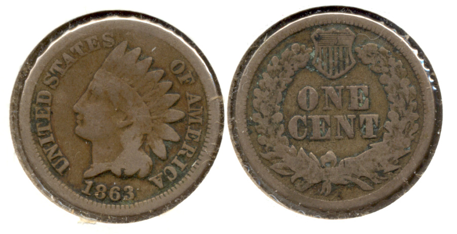 1863 Indian Head Cent Good-4 db
