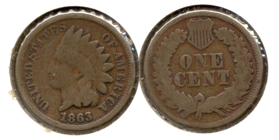 1863 Indian Head Cent Good-4 df