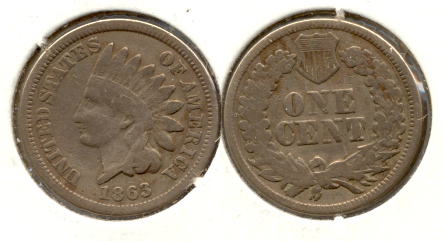 1863 Indian Head Cent Good-4 Cleaned dq