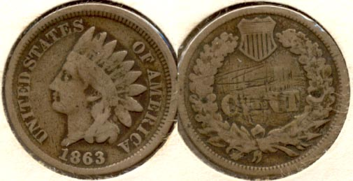 1863 Indian Head Cent Good-4 e Reverse Scratches