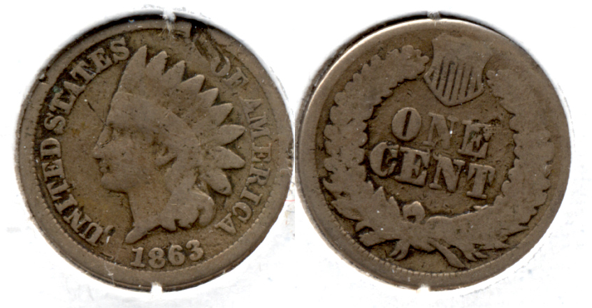 1863 Indian Head Cent Good-4 ea Obverse Hit
