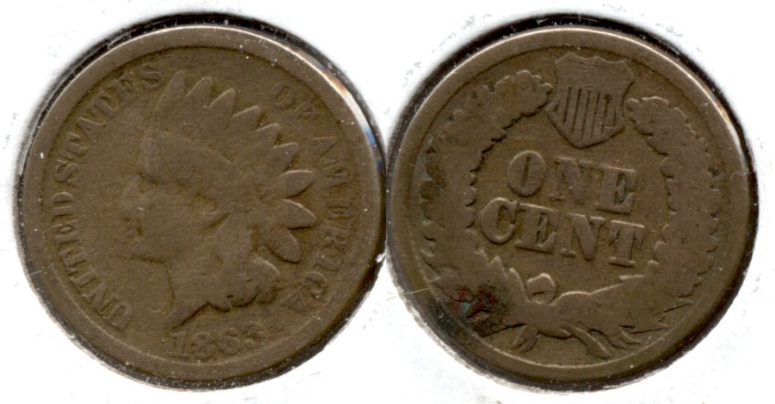 1863 Indian Head Cent Good-4 ed Reverse Spot